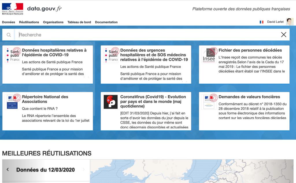 Capture d'écran de la page d'accueil de data.gouv.fr avec les cartes par défaut.