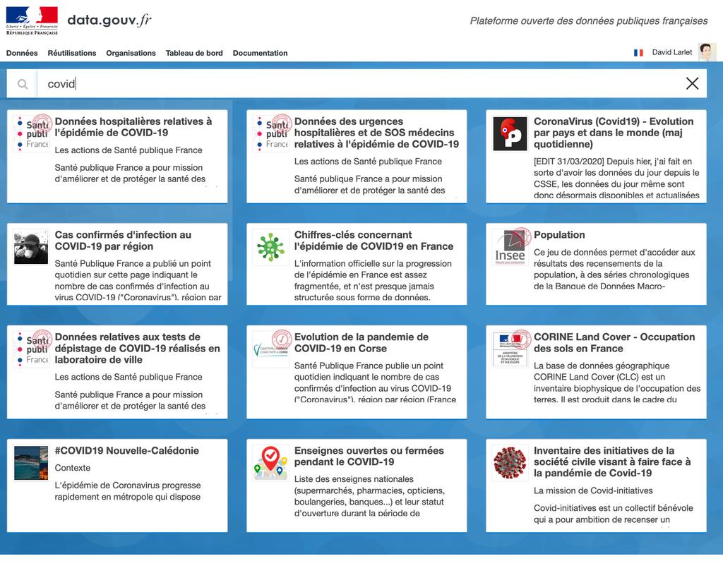 Capture d'écran de la page d'accueil de data.gouv.fr avec une recherche en cours.