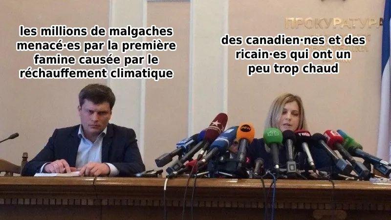 Mème sur le biais de médiatisation entre les morts de la canicule au Canada et la famine climatique à Madagascar