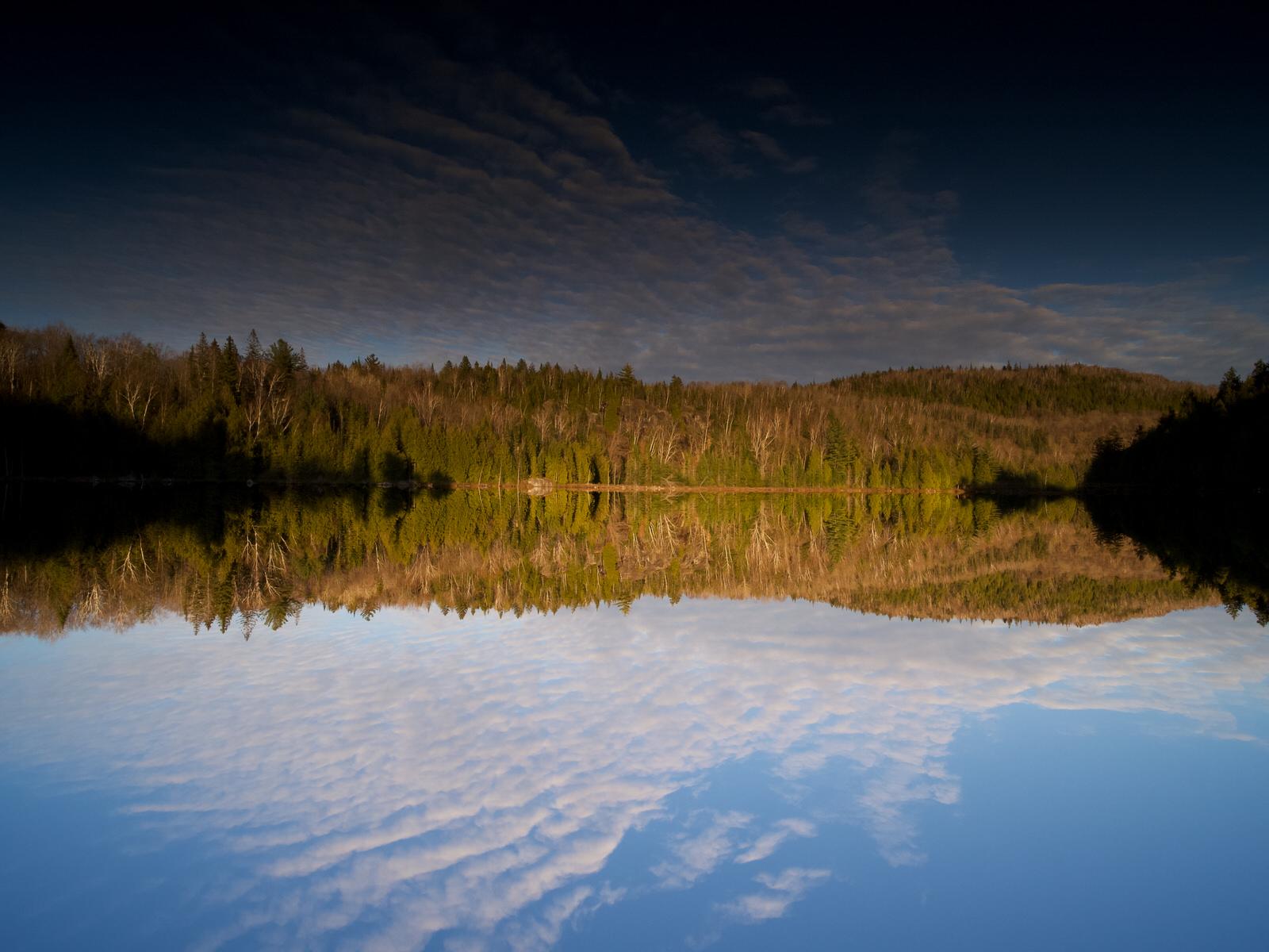 Reflet sur un lac de bon matin