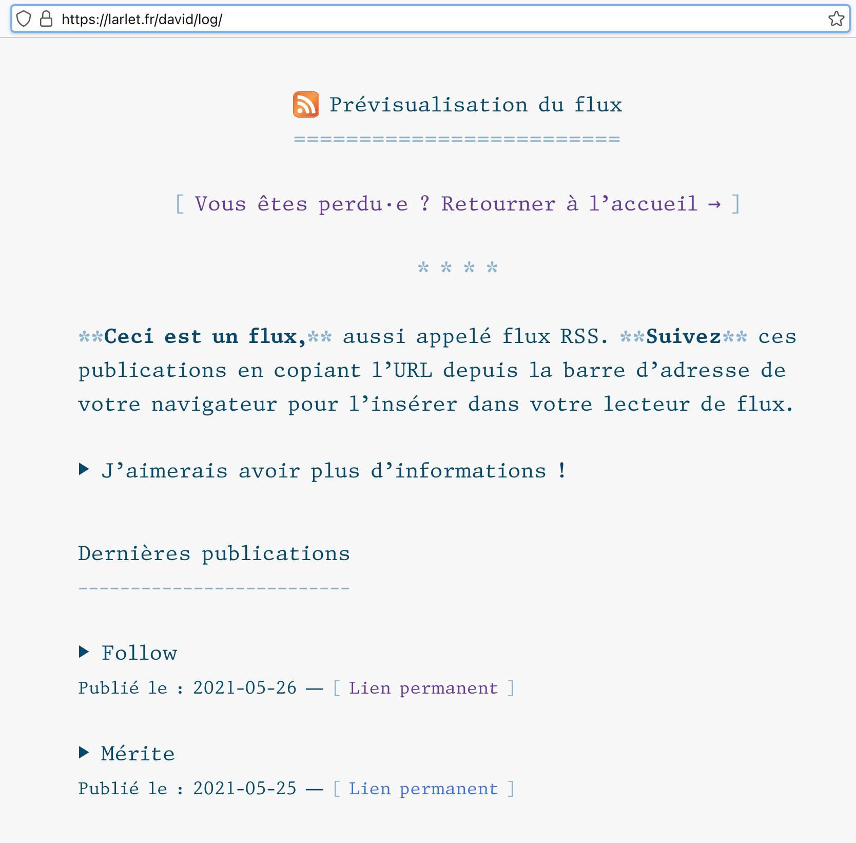 Rendu après transformation de mon flux RSS dans Firefox