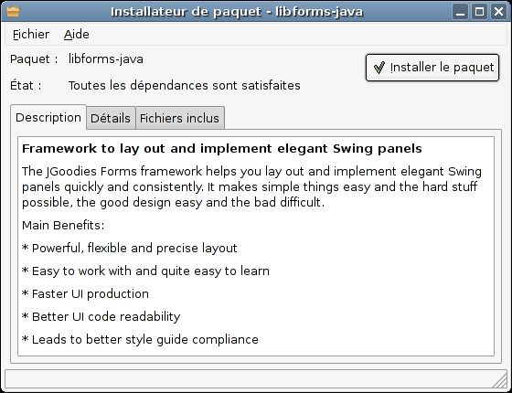 Installation du paquet java libforms avec GDebi