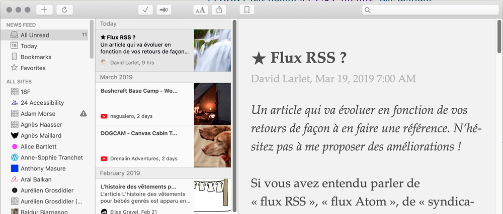 Capture de mon lecteur RSS