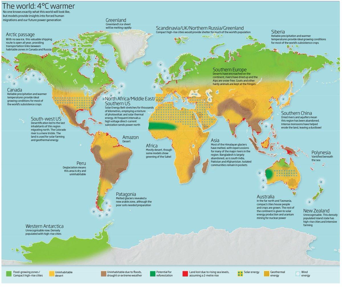 Carte du monde avec quatre degrés de plus